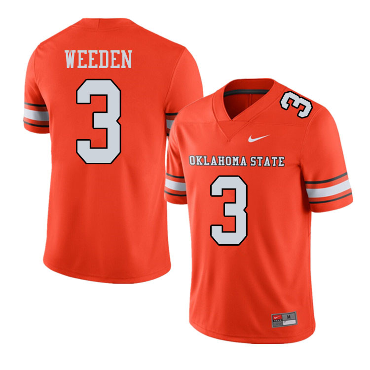 Men #3 Brandon Weeden Oklahoma State Cowboys College Football Jerseys Sale-Alternate Orange
