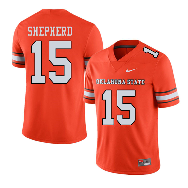Men #15 Jonathan Shepherd Oklahoma State Cowboys College Football Jerseys Sale-Alternate Orange