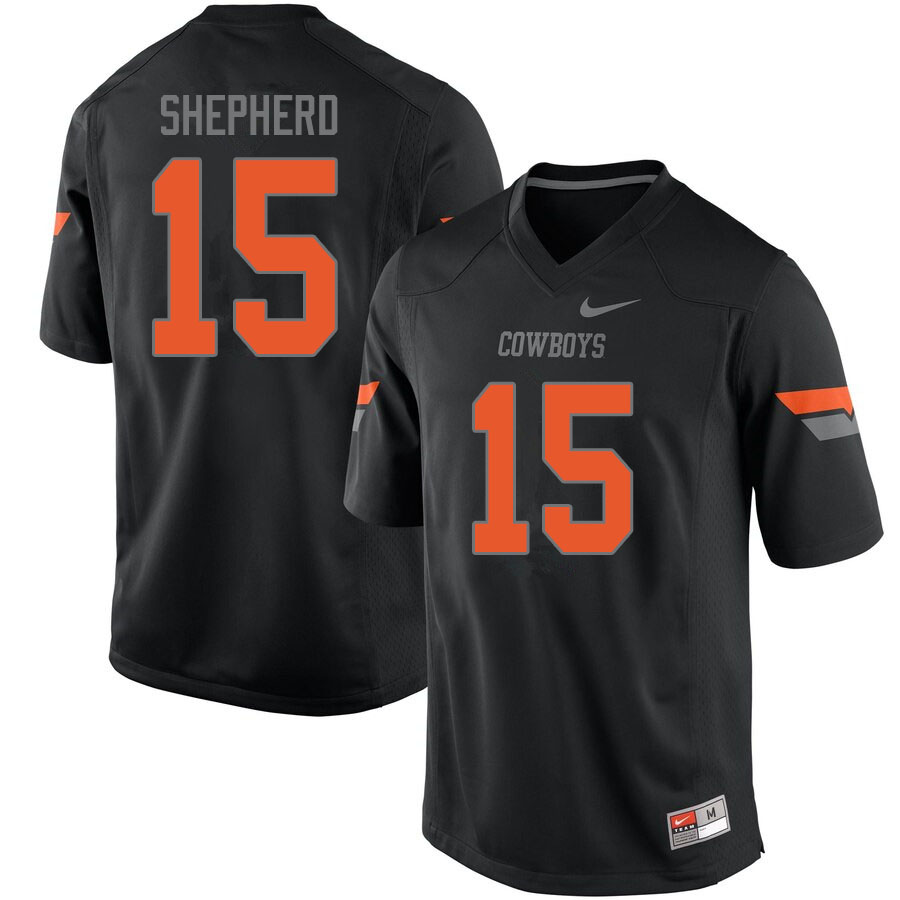 Men #15 Jonathan Shepherd Oklahoma State Cowboys College Football Jerseys Sale-Black