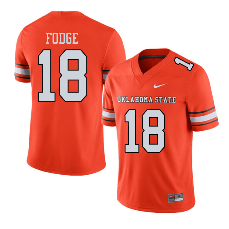 Men #18 Matt Fodge Oklahoma State Cowboys College Football Jerseys Sale-Alternate Orange