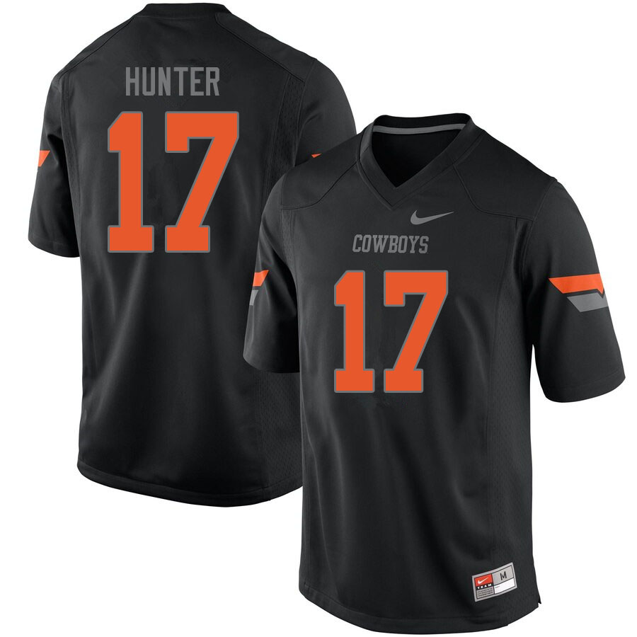 Men #17 Michael Hunter Oklahoma State Cowboys College Football Jerseys Sale-Black