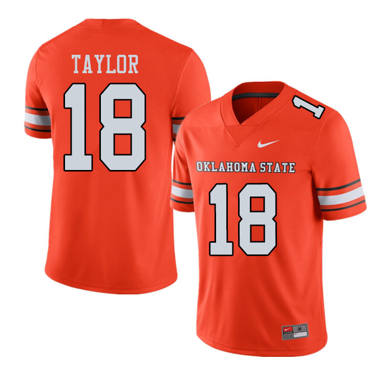 Men #18 Shaun Taylor Oklahoma State Cowboys College Football Jerseys Sale-Alternate Orange