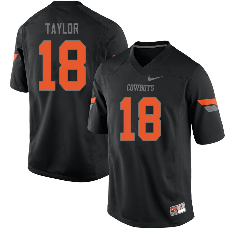 Men #18 Shaun Taylor Oklahoma State Cowboys College Football Jerseys Sale-Black