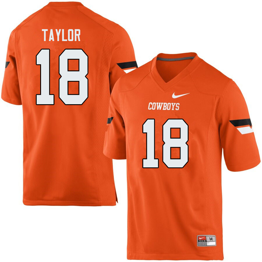 Men #18 Shaun Taylor Oklahoma State Cowboys College Football Jerseys Sale-Orange