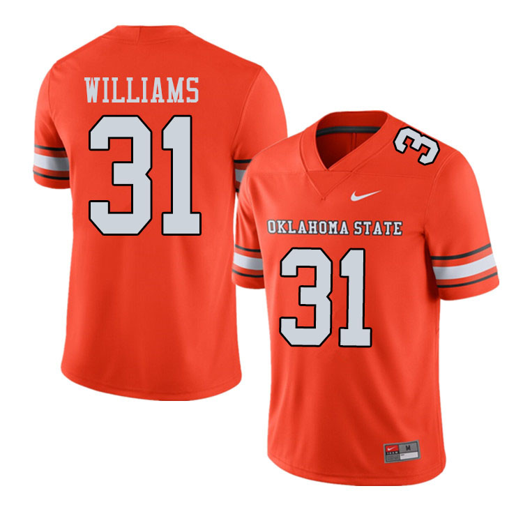 Men #31 Taje Williams Oklahoma State Cowboys College Football Jerseys Sale-Alternate Orange