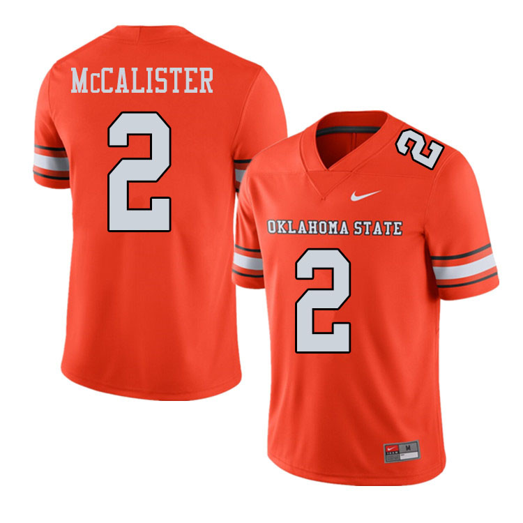 Men #2 Tanner McCalister Oklahoma State Cowboys College Football Jerseys Sale-Alternate Orange