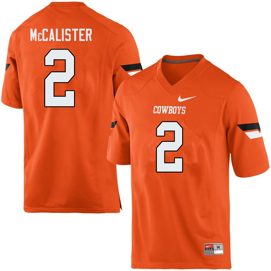 Men #2 Tanner McCalister Oklahoma State Cowboys College Football Jerseys Sale-Orange