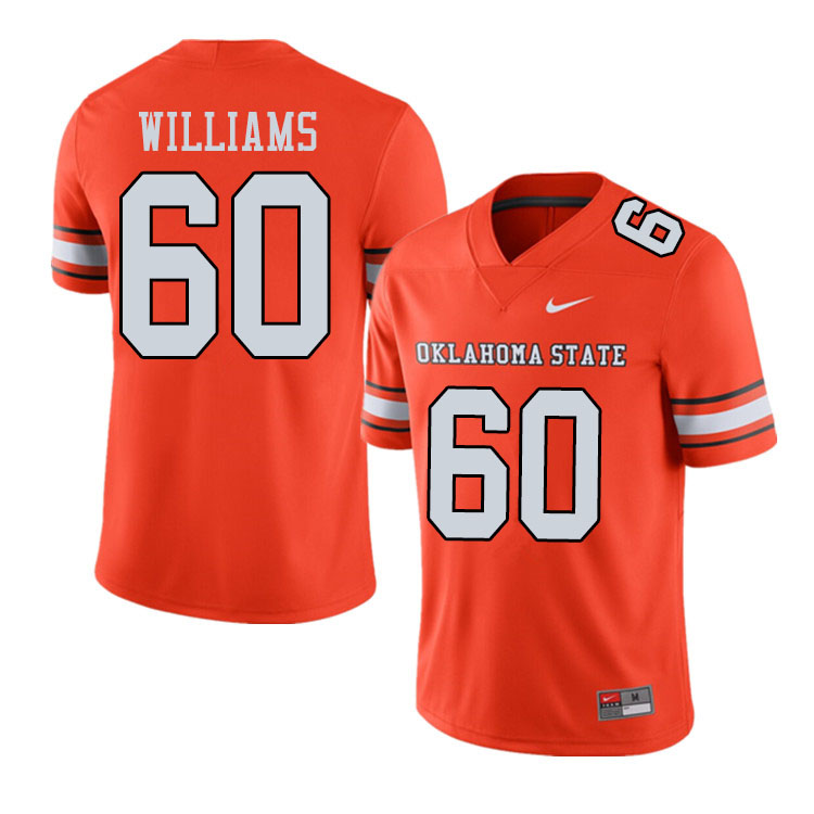 Men #60 Tyrese Williams Oklahoma State Cowboys College Football Jerseys Sale-Alternate Orange