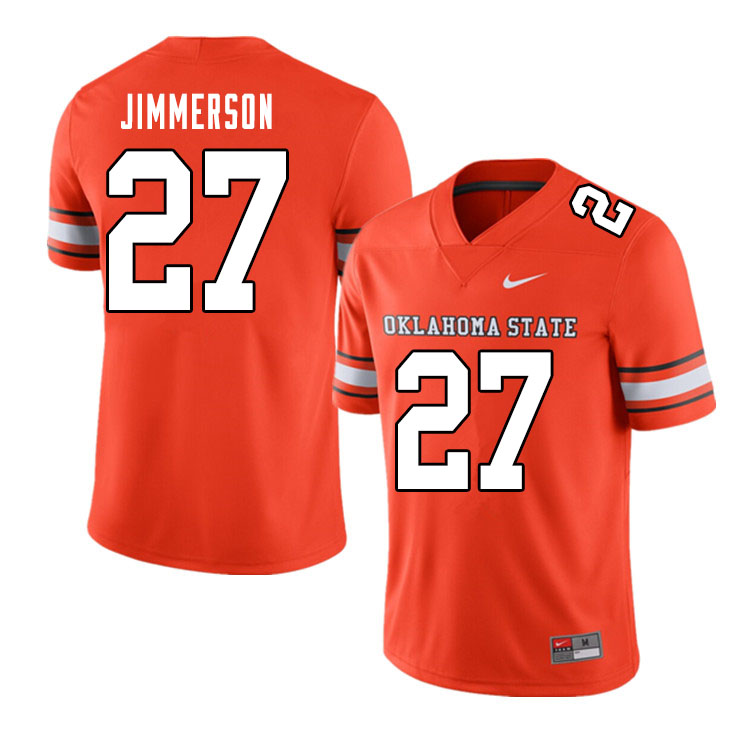Men #27 Anthony Jimmerson Oklahoma State Cowboys College Football Jerseys Sale-Alternate Orange