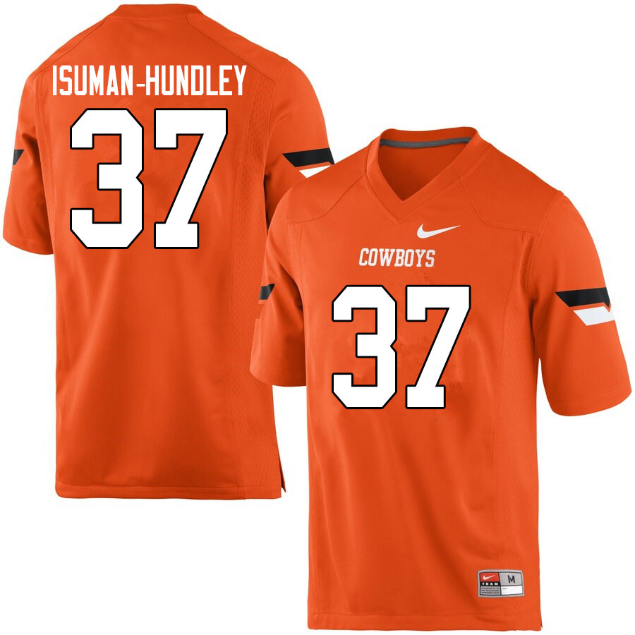 Men #37 Isreal Isuman-Hundley Oklahoma State Cowboys College Football Jerseys Sale-Orange