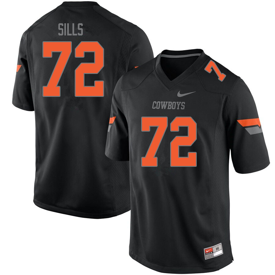 Men #72 Josh Sills Oklahoma State Cowboys College Football Jerseys Sale-Black