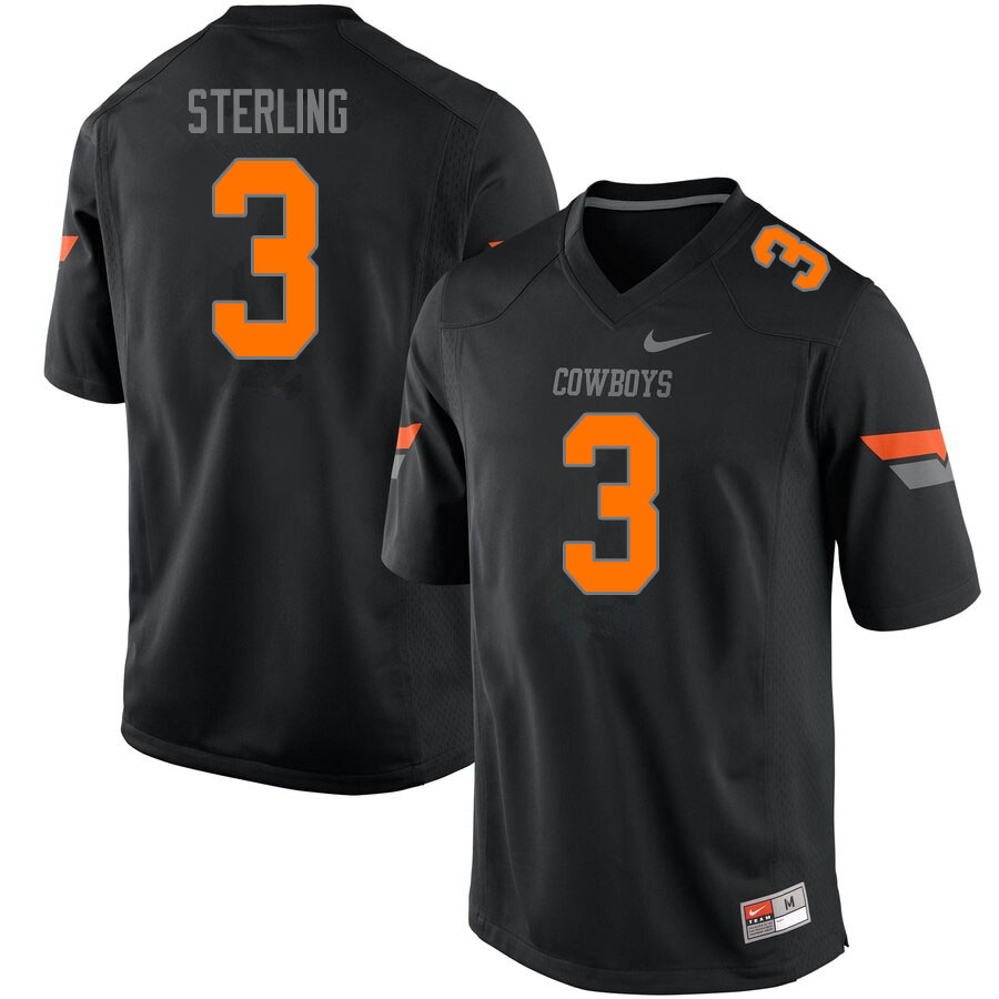 Men #3 Tre Sterling Oklahoma State Cowboys College Football Jerseys Sale-Black