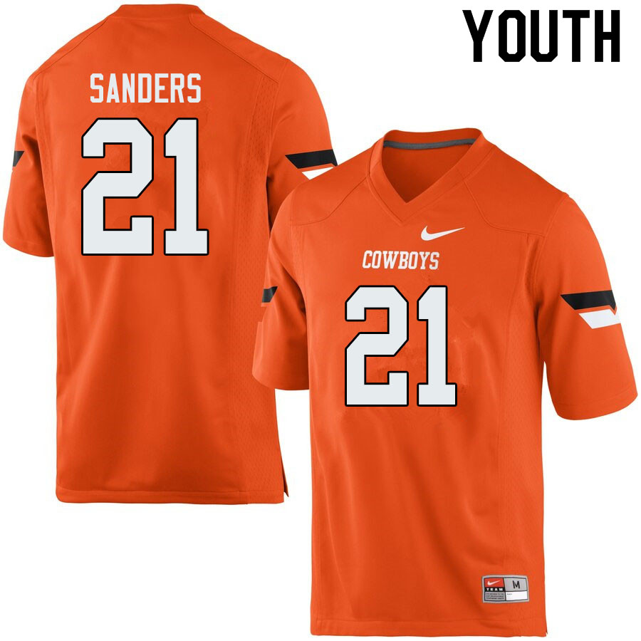 Youth #21 Barry Sanders Oklahoma State Cowboys College Football Jerseys Sale-Orange