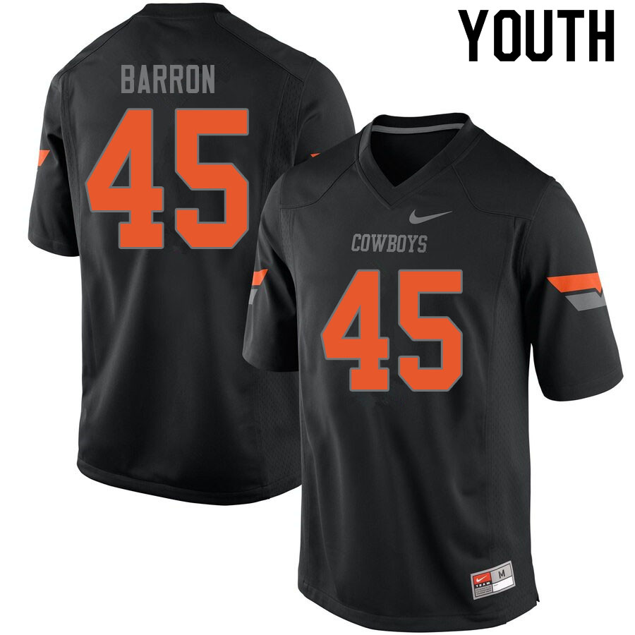 Youth #45 Blake Barron Oklahoma State Cowboys College Football Jerseys Sale-Black