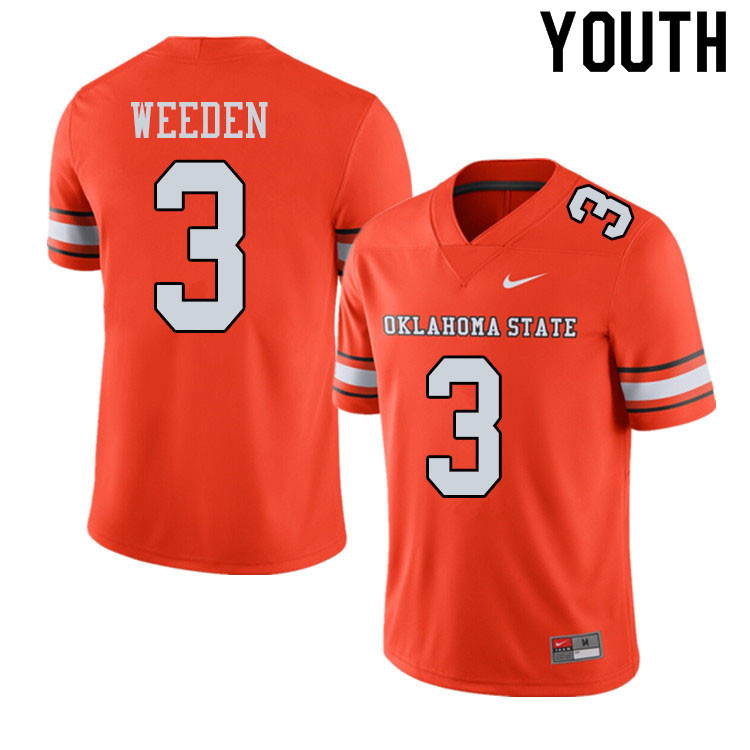 Youth #3 Brandon Weeden Oklahoma State Cowboys College Football Jerseys Sale-Alternate Orange