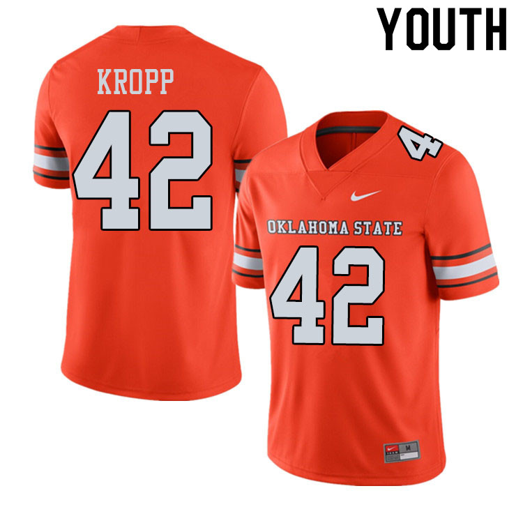 Youth #42 Carson Kropp Oklahoma State Cowboys College Football Jerseys Sale-Alternate Orange