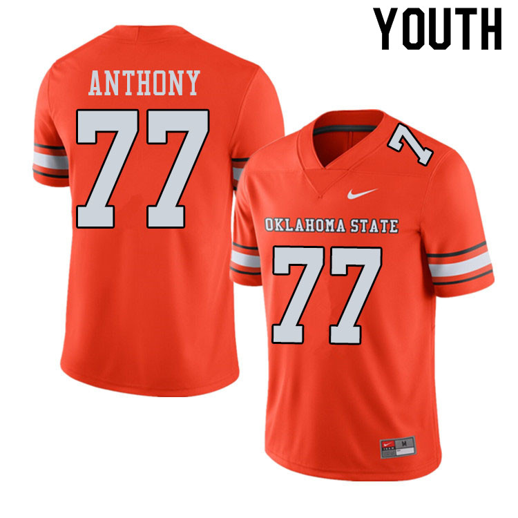 Youth #77 Hunter Anthony Oklahoma State Cowboys College Football Jerseys Sale-Alternate Orange