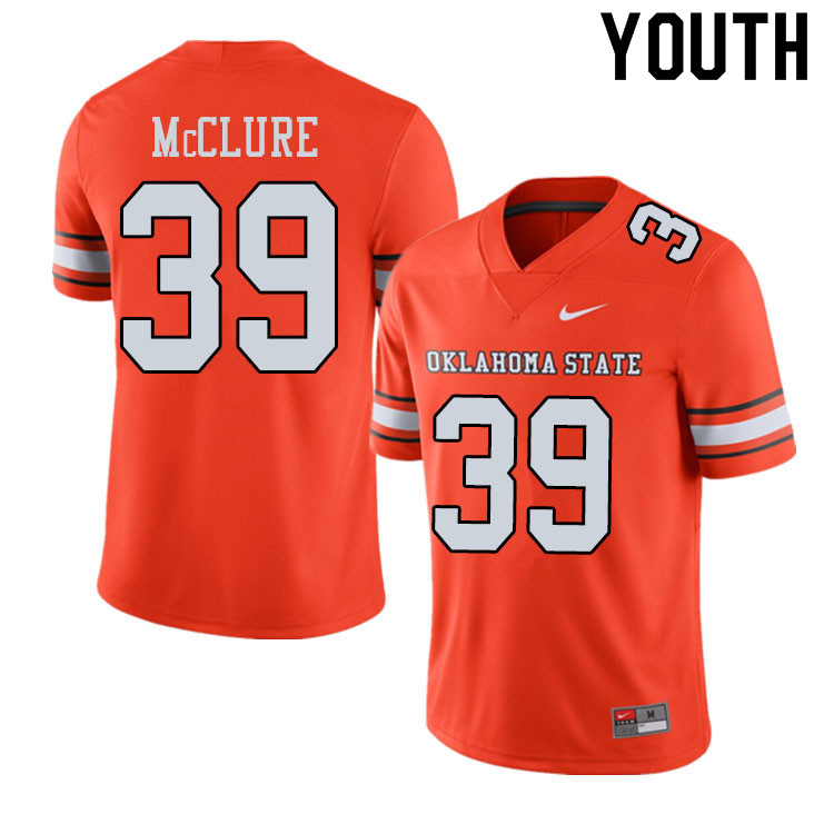 Youth #39 Jake McClure Oklahoma State Cowboys College Football Jerseys Sale-Alternate Orange