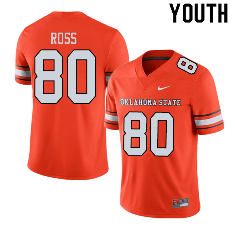 Youth #80 Jake Ross Oklahoma State Cowboys College Football Jerseys Sale-Alternate Orange