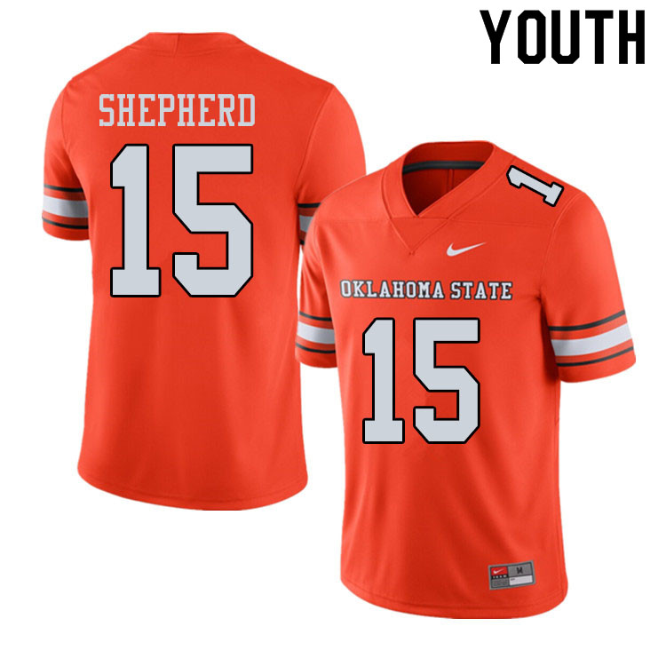 Youth #15 Jonathan Shepherd Oklahoma State Cowboys College Football Jerseys Sale-Alternate Orange