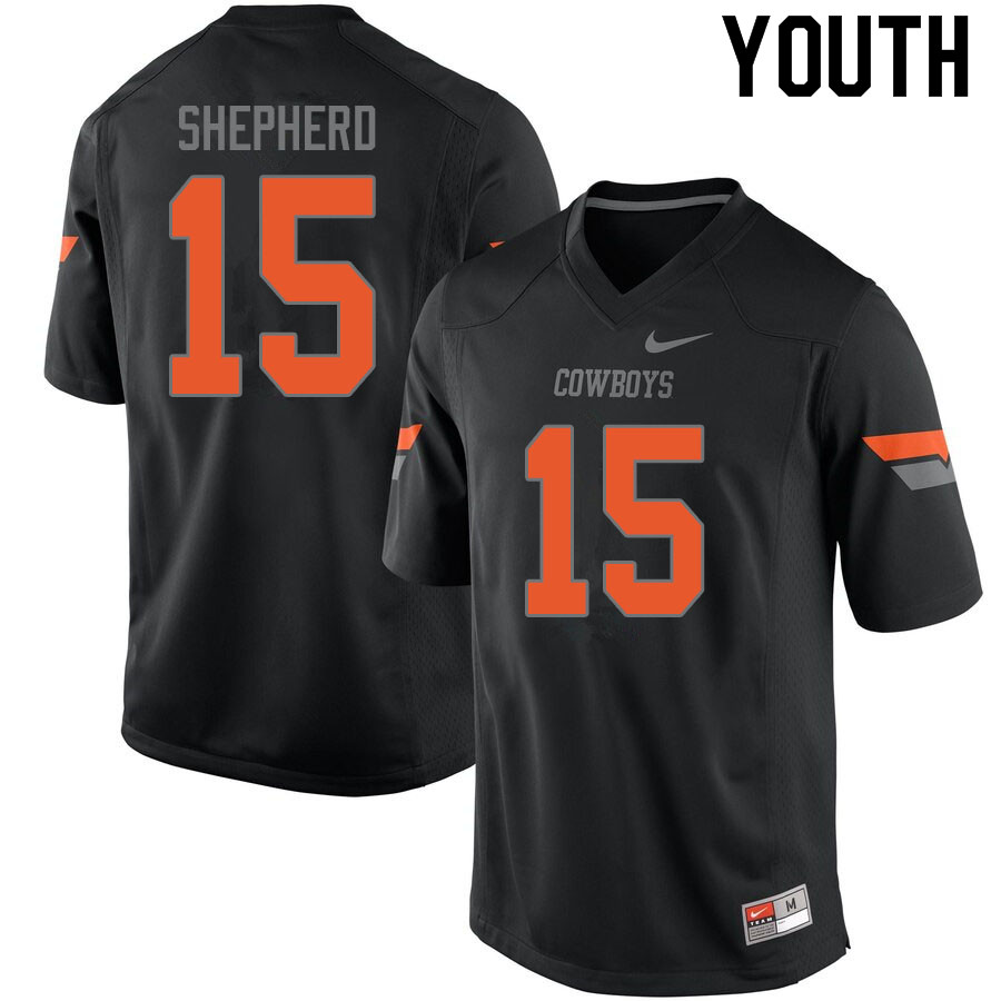 Youth #15 Jonathan Shepherd Oklahoma State Cowboys College Football Jerseys Sale-Black