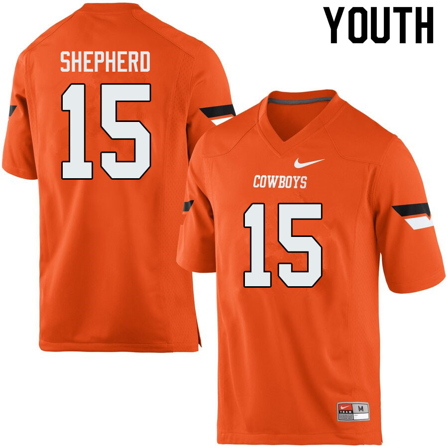 Youth #15 Jonathan Shepherd Oklahoma State Cowboys College Football Jerseys Sale-Orange