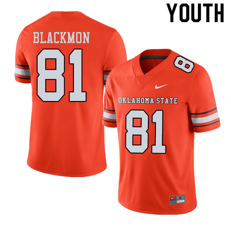 Youth #81 Justin Blackmon Oklahoma State Cowboys College Football Jerseys Sale-Alternate Orange