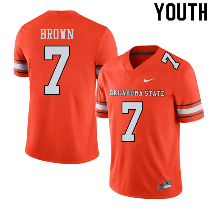 Youth #7 LD Brown Oklahoma State Cowboys College Football Jerseys Sale-Alternate Orange