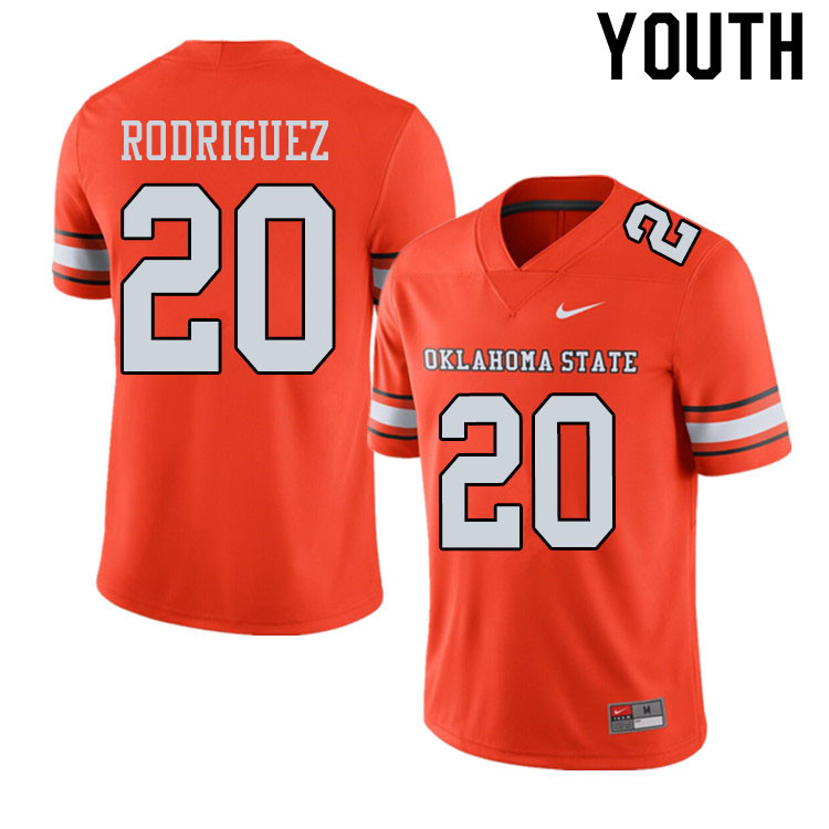 Youth #20 Malcolm Rodriguez Oklahoma State Cowboys College Football Jerseys Sale-Alternate Orange