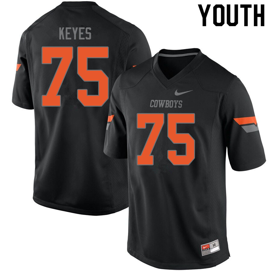 Youth #75 Marcus Keyes Oklahoma State Cowboys College Football Jerseys Sale-Black