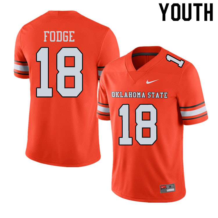 Youth #18 Matt Fodge Oklahoma State Cowboys College Football Jerseys Sale-Alternate Orange