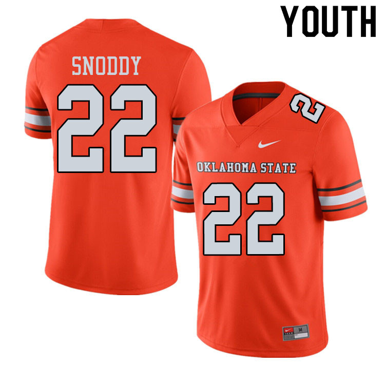 Youth #22 Mbari Snoddy Oklahoma State Cowboys College Football Jerseys Sale-Alternate Orange