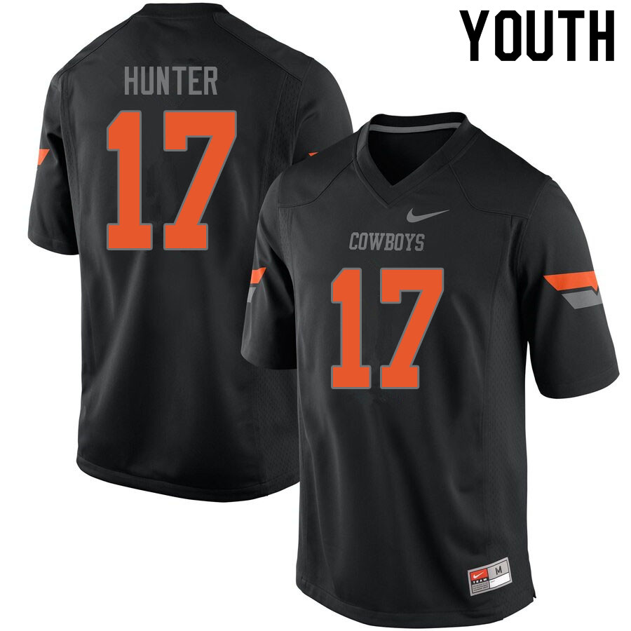 Youth #17 Michael Hunter Oklahoma State Cowboys College Football Jerseys Sale-Black
