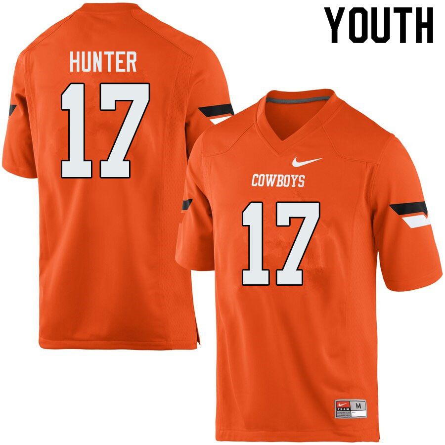 Youth #17 Michael Hunter Oklahoma State Cowboys College Football Jerseys Sale-Orange