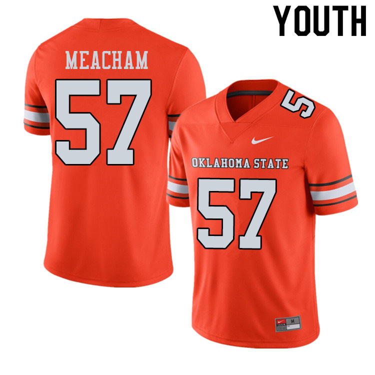 Youth #57 Seth Meacham Oklahoma State Cowboys College Football Jerseys Sale-Alternate Orange