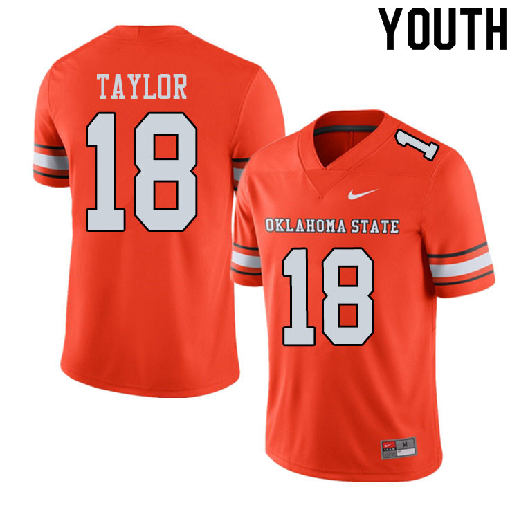 Youth #18 Shaun Taylor Oklahoma State Cowboys College Football Jerseys Sale-Alternate Orange