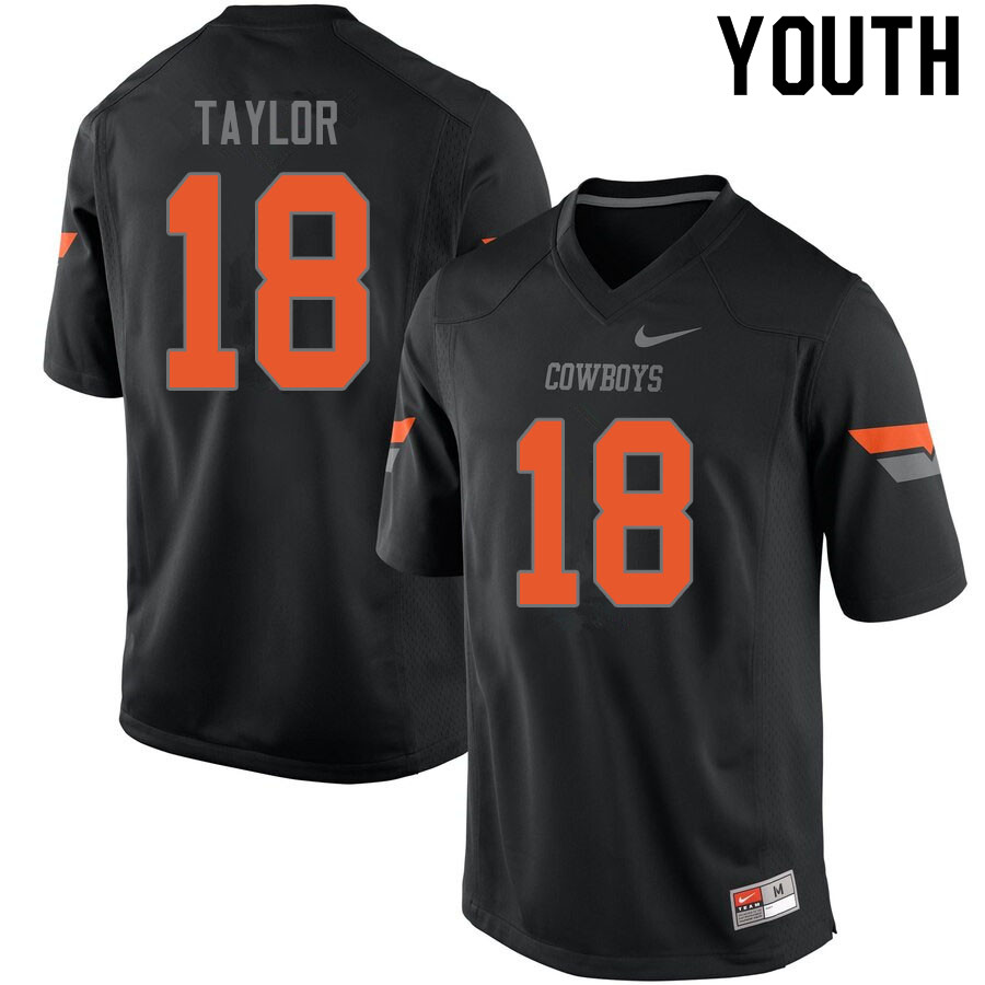 Youth #18 Shaun Taylor Oklahoma State Cowboys College Football Jerseys Sale-Black
