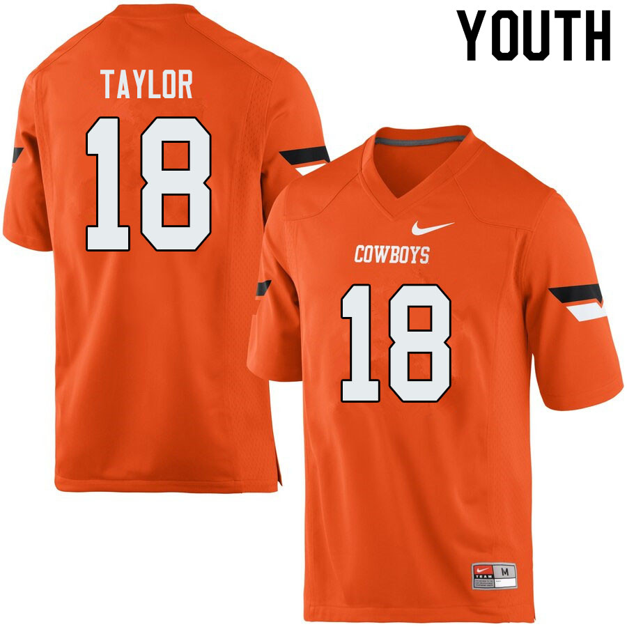 Youth #18 Shaun Taylor Oklahoma State Cowboys College Football Jerseys Sale-Orange