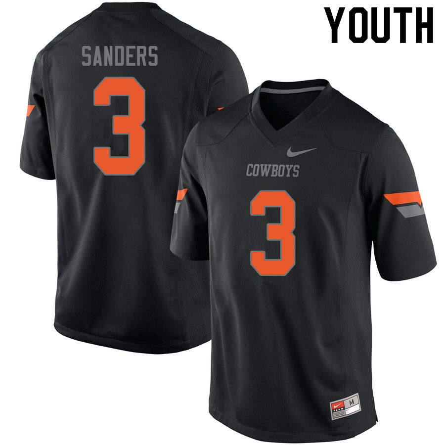 Youth #3 Spencer Sanders Oklahoma State Cowboys College Football Jerseys Sale-Black