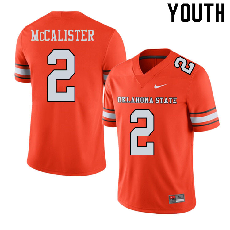Youth #2 Tanner McCalister Oklahoma State Cowboys College Football Jerseys Sale-Alternate Orange