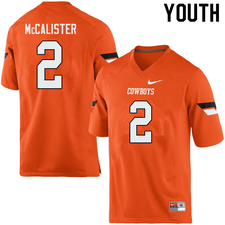 Youth #2 Tanner McCalister Oklahoma State Cowboys College Football Jerseys Sale-Orange