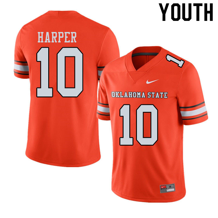 Youth #10 Thomas Harper Oklahoma State Cowboys College Football Jerseys Sale-Alternate Orange
