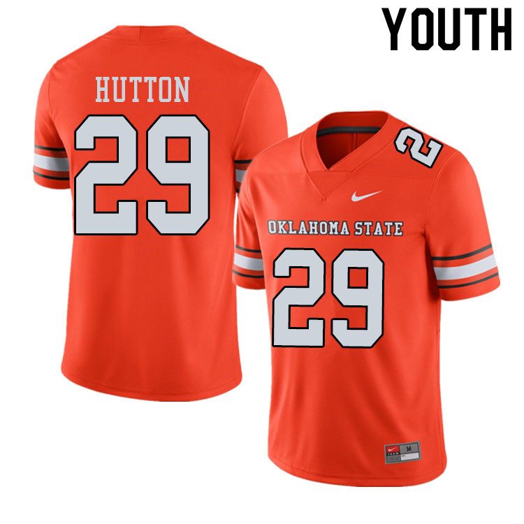 Youth #29 Tom Hutton Oklahoma State Cowboys College Football Jerseys Sale-Alternate Orange