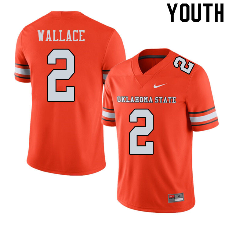 Youth #2 Tylan Wallace Oklahoma State Cowboys College Football Jerseys Sale-Alternate Orange