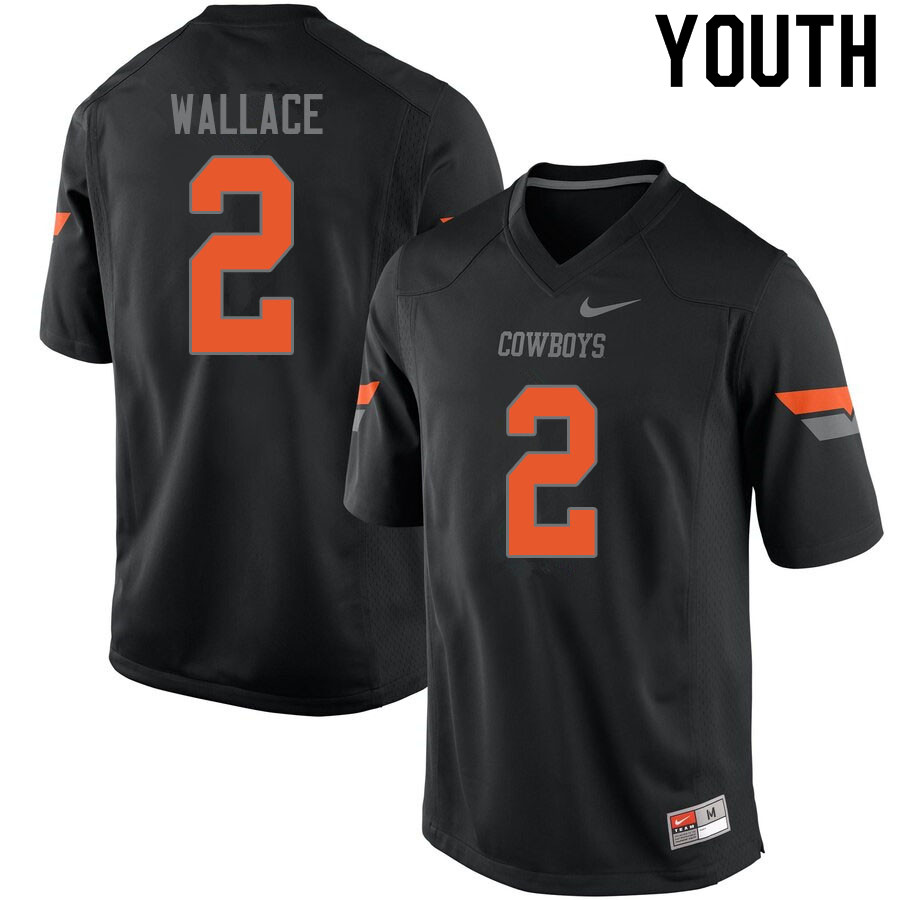 Youth #2 Tylan Wallace Oklahoma State Cowboys College Football Jerseys Sale-Black