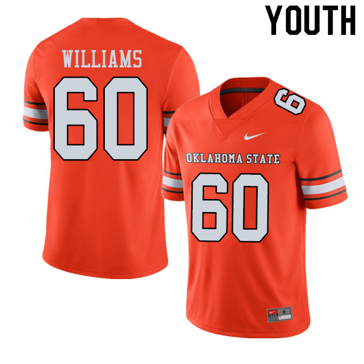 Youth #60 Tyrese Williams Oklahoma State Cowboys College Football Jerseys Sale-Alternate Orange
