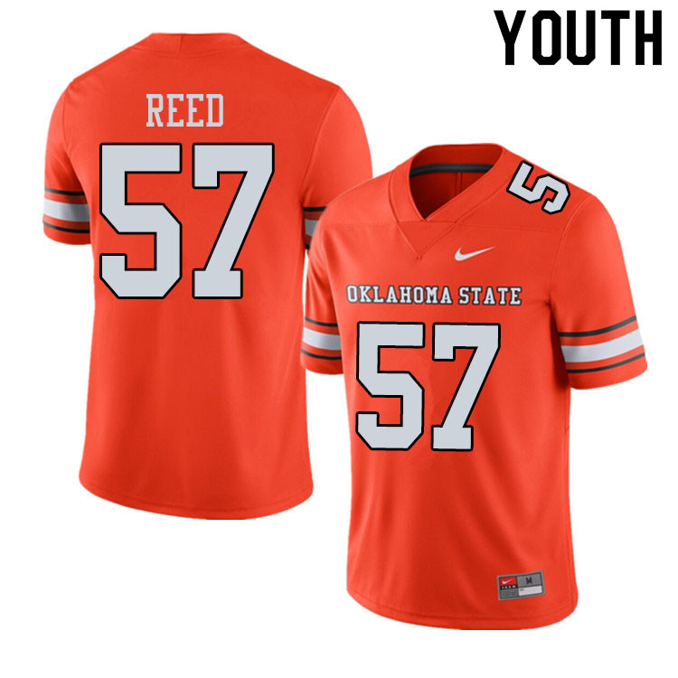 Youth #57 Walker Reed Oklahoma State Cowboys College Football Jerseys Sale-Alternate Orange