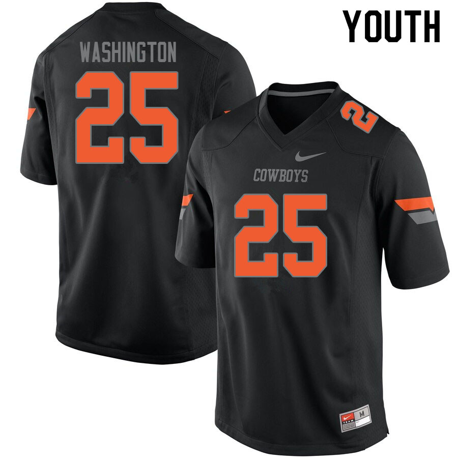 Youth #25 Andre Washington Oklahoma State Cowboys College Football Jerseys Sale-Black