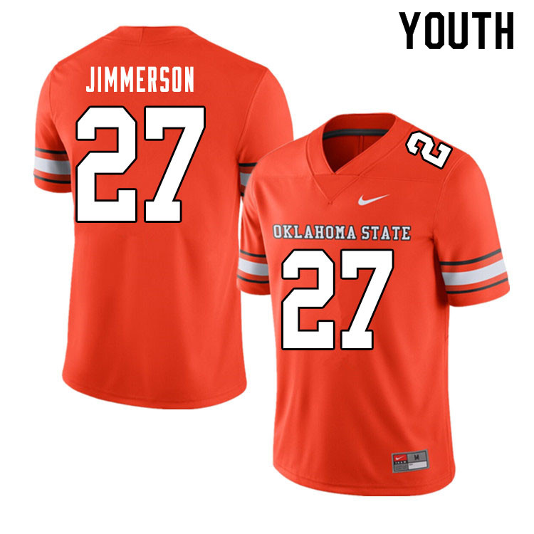 Youth #27 Anthony Jimmerson Oklahoma State Cowboys College Football Jerseys Sale-Alternate Orange