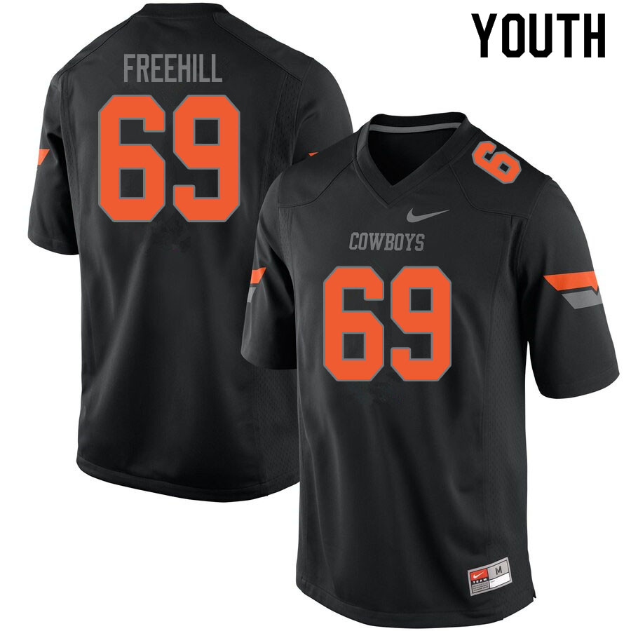 Youth #69 Ben Freehill Oklahoma State Cowboys College Football Jerseys Sale-Black